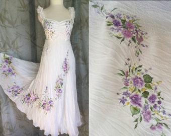 Silk hand painted wedding gown dress VICTORIAN ROSES