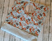 """Fox and Paisley Toddler Pocket Bib 