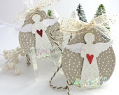 Haloed Snow Angel Art Gift Tags~hang tag~cream~red~gold~gift bag swag~pretty packaging~snowflake~red heart~angel wings