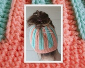 Adult Teen, Messy Bun Hat Beanie, Pony Tail Hat, Crocheted,  Aqua & Coral Striped, Ready To Ship