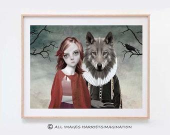 Fairytale Art Print - Fairytale Illustration - Red Riding Hood Art Print - Red Riding Hood  - Wall Decor- Red
