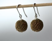 globe earrings with silver hooks bronze colored brown metal finish spheres