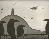 """The Dragon at Glastonbury Tor - """"The Unwelcome Visitor"""" - original etching, original art by Nancy Farmer. Birds, crows, corvids, Somerset"""