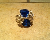 Silvertone Birthstone Adjustable Ring by Sarah Coventry