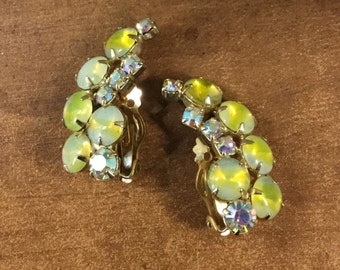 Ear Hugging Signed Leru Lemon Sherbet Earrings Clip On Rhinestones and Opalescent Cabochons Prong Set