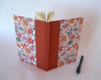 Address book large - rust wildflower katazome - 6x8.5 in 15x22cm - Ready to ship
