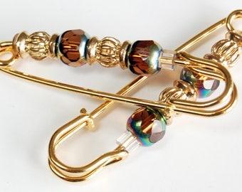 Black or Brown Crystal  n Golden Gathering Pin Pair, Sleeve Pin, Scarf Pin