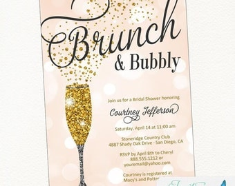 Brunch and Bubbly Bridal Shower Invitation | Champagne Invitation | Bridal Shower Invitation | Birthday Party Invitation | Bachelorette
