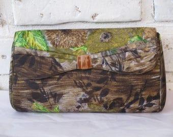 Vintage Saks Fifth Avenue Coblentz Floral Print Clutch Purse Handbag Brown Green Mid Century