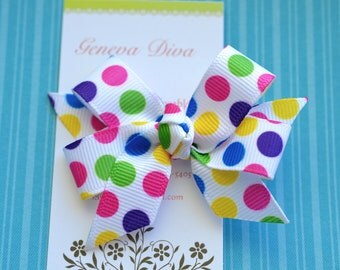 Bright Bubble Gum Dots Mini Diva Bow