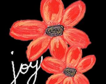 JOY Mixed Media Art Print, Unframed Art, Uplifting Art, Home Decorating, Interior Design