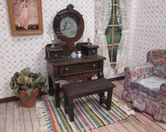 "Vintage Dollhouse Furniture - Wooden Vanity or Desk and Bench - Larger 1"" Scale - Star Novelty?"