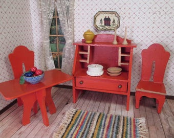 """Vintage Dollhouse Furniture - Wooden Buffet, Table and 2 Chairs - Larger 1"""" Scale"""