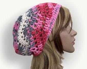 Pastel Waves Slouchy Beanie - Pink, Gray, Scarlet, White -  100 Percent Cotton Designer Yarn - Sol Degrade