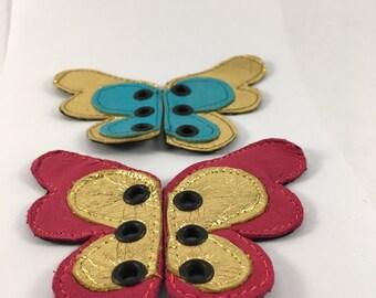 Leather shoe butterfly wings