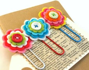 Pretty Felt Flower Daily Planner Clips / Handmade Flower Clips / Journal Clips / Paper Clips/ Bookmarks / Jumbo Paper clips - Set of 3