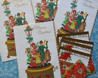 4 Unused Vintage Mid Century Music Box Carolers Christmas Cards + Tags & Seals