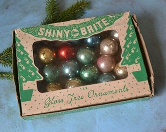 Vintage Miniature Shiny Brite Glass Christmas Ornaments in Box