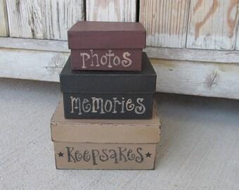 Primitive Keepsakes Photos Memories Square Set of 3 Stacking Boxes GCC3959