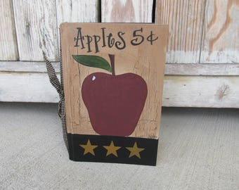 Primitive Country Hand Painted Vintage Apple Book with Stars GCC1153