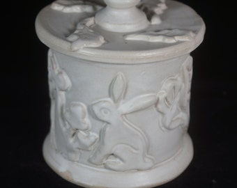 White Rabbit Jar, Storage Jar, Sugar Jar, Vanity Jar Handmade pottery