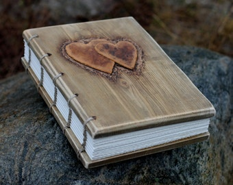 Wedding Guest Book rustic wood journal with leather hearts wooden guestbook bridal shower engagement anniversary