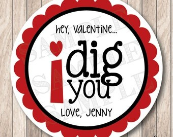 Personalized Printable I Dig You Tags, Printable Valentine Tags