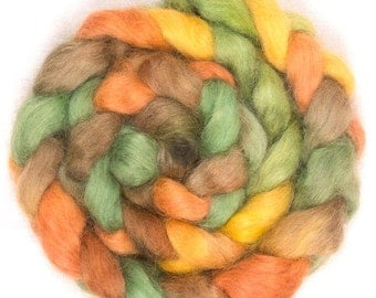 Hand dyed wool for spinning,  Wensleydale, hand painted fibre, hand dyed roving, fiber,  spin, felt, spinning wool, colour; Hawes