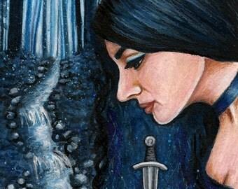 "Print 5 x 7"" lady of the sacred springs, goddess, gothic, pagan art"