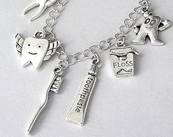 Dentist necklace or dentist charm bracelet, dental hygienist necklace, tooth fairy, dental themed jewelry, antiqued silver