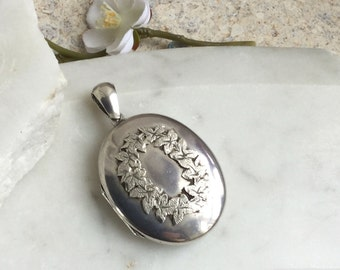 Victorian locket, large vintage silver locket, antique silver pendant