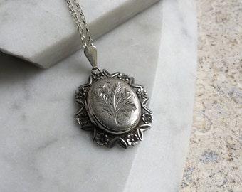 1960s vintage locket necklace, ornate silver locket, engraved pendant, hallmarked Birmingham 1969