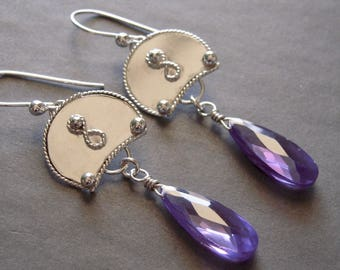 Purple Earrings, Argentium Sterling Silver, Purple Teardrop CZ, Dangle Earrings, Artisian Earrings, Free Shipping USA