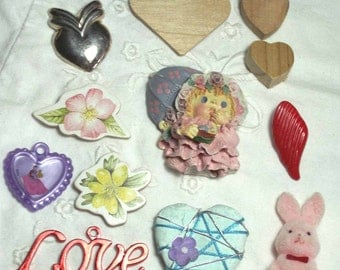 Love Valentine LOT 12pc Jewelry Crafts Supplies Hearts Flowers