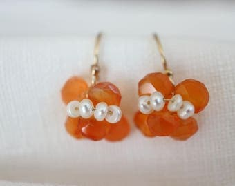 Gold Earrings Orange Viola 14k Gold Filled