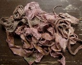hand dyed textile kit - rag bag lot of ooak antique and vintage fabrics - musk dust
