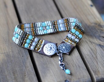 Sterling Silver Bracelet, Leather Beaded Bracelet, Silver Bead Woven Cuff Bracelet