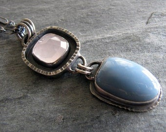 Necklace of Rare Oregon Blue Opal and Rose Quartz in Sterling silver