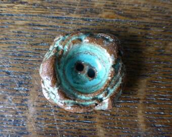 Rustic Turquoise Chunky Monkey Boho Ceramic Button