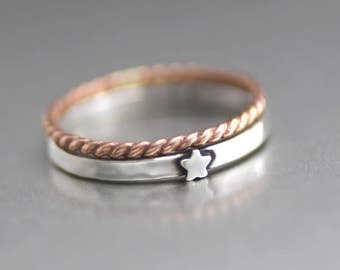 Rock Star Silver Ring, Star Stack Ring, Silver Star Ring, Rose Gold Ring, Stack Rings, Star Ring, 4th of July Ring, Sterling Silver Ring