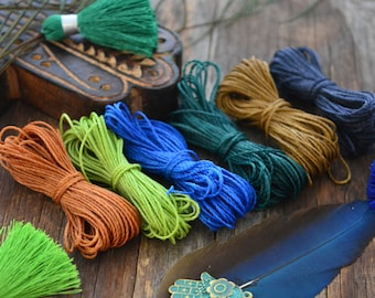 Peacock Feather Mix: Waxed Polyester Cord, 1mm, 6 packs of 25ft per color / Hilo Encerado, Waxed Poly, Macrame Thread / Jewelry Supplies