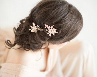 Rose Gold Wedding Hair Clip, Wedding Hair Accessory, Bridal Hair Clip, Crystal Hair Clip