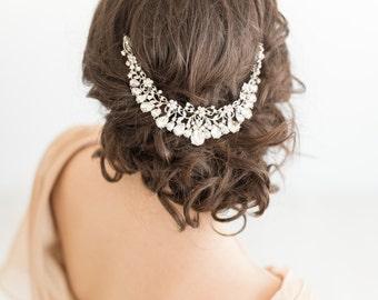 Wedding Headpiece, Bridal Headpiece with Earrings, Wedding Hair Swag, Bridal Crystal Hairpiece, Wedding Hair Comb