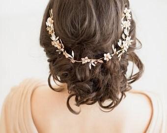 Gold Bridal Hair Accessory,  Crystal Hair Swag, Gold Wedding Hair Vine