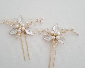 Wedding Hair Pins, Gold Hair Pins, Bridal Hair Pins, Silver Pearl Hair Pins