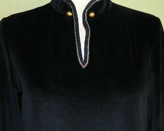 M 60s 70s Black Velvet Dress Gold Trim Mod Dress Butte Knit Nehru Beatle Dress