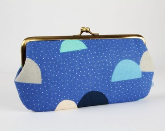 Frame purse with two sections - Pikku Saari Saaristo in blue and green - Wowlet / Kisslock wallet / Japanese fabric / grey navu white mint