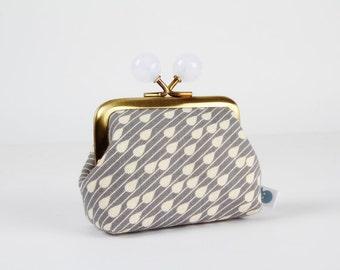 Metal frame coin purse with color bobbles - Raindrops on grey - Color mum / Japanese fabric / Ellen Luckett Baker / light lavender purple