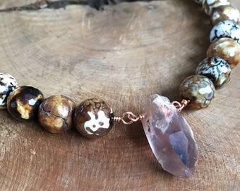 Abbreciated Agate and Brown quartz statement necklace