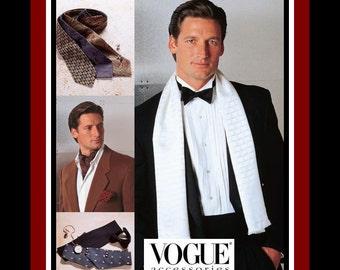 Gentlemen's Fashion Accessories-Vogue Sewing Pattern-Classic Tie-Dashing Ascot-Cummerbund-Evening Scarf-Bow Tie-Pocket Square-Uncut-Rare